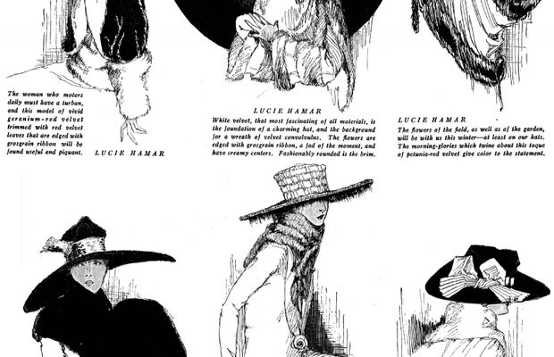 Fashion didn't stop with the coming of the war. Here, hat collections in 1918  - (c) Old Magazine Articles.com ©