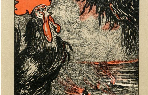 «Belges, êtes-vous prêts ?»  La plus célèbre campagne pour le renforcement de l'armée belge est l'œuvre du journal Le Soir, qui publie en 1911 une série d'articles sous le titre Belges, êtes-vous prêts ? Le journal rassemble ensuite ces textes dans une brochure en y ajoutant les nombreuses réactions de personnalités en vue. La campagne se dote d'une affiche dessinée par l'artiste belge James Thiriar, reproduite ici sur carte postale. Elle représente la Belgique sous la forme d'un champ de bataille dé  - Collection privée, Nicolas Mignon. ©