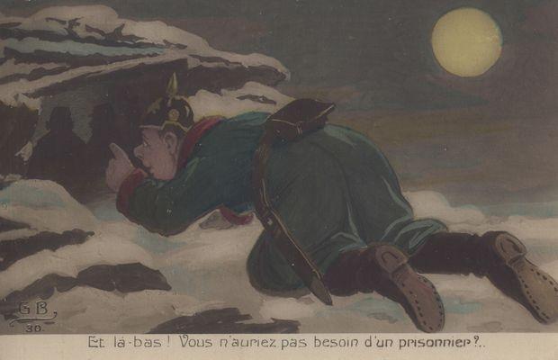"""Carte postale satirique: """"Et là-bas! vous n'auriez pas besoin d'un prisonnier""""  - Collection privée, M. Freddy Billiet ©"""