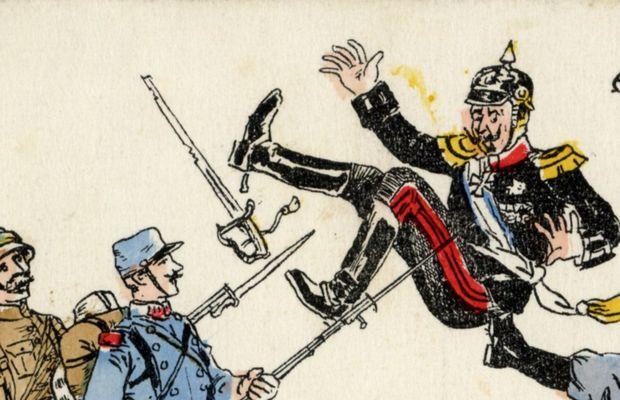 Carte postale humoristique, les Allemands vus par les Belges et les Alliés  - Collection privée, Nicolas Mignon ©