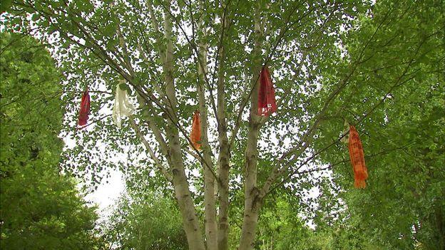 L'arbre à prières (bouleau) qui annonce l'entrée dans la Vallée du Népal