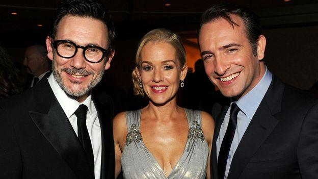 Michel Hazanavicius, Penelope Ann Miller et Jean Dujardin. 64th Annual Directors Guild Of America Awards - Cocktail Reception