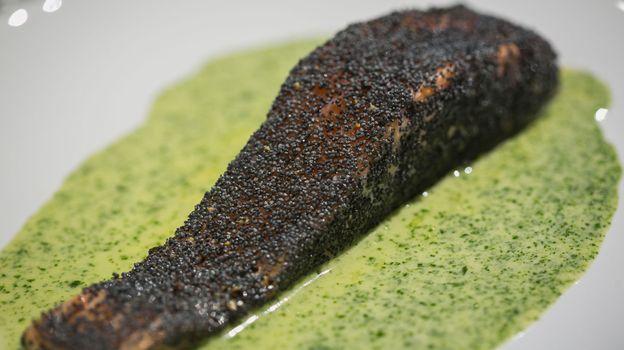 Pavés de saumon au pavot et gratin de brocoli au fromage de chèvre et côte de porc au jus