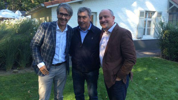 Eddy Merckx avec Rodrigo Beenkens et Jean-Louis Lahaye