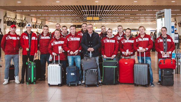 Leo Van der Elst et l'équipe de Pessoux à Zaventem