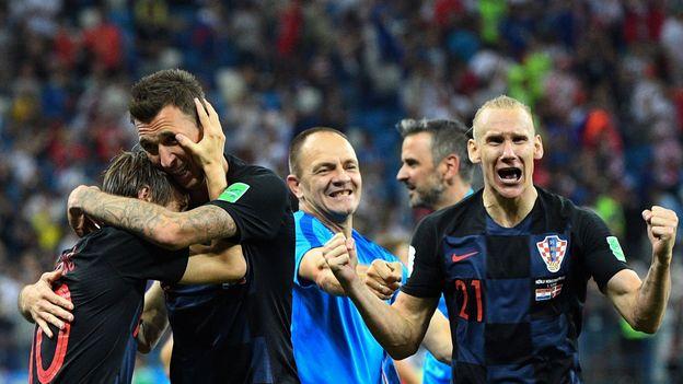 Les Croates célébrant leur victoire face au Danemark.