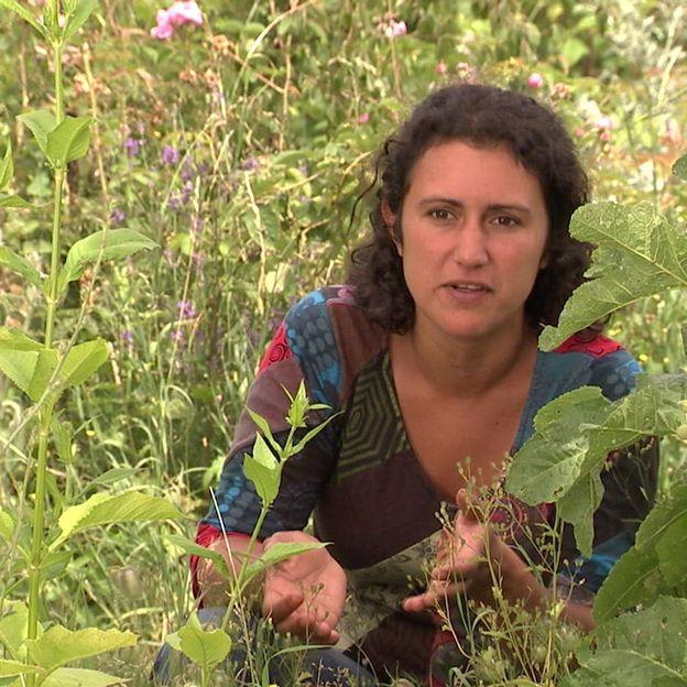 Séverine D'Ans dans son jardin de plantes sauvages