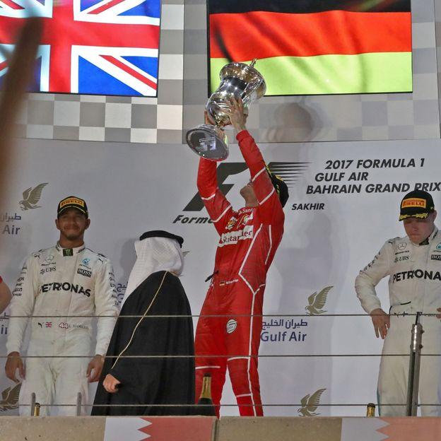 Sébastian Vettel monte encore sur la première marche du podium