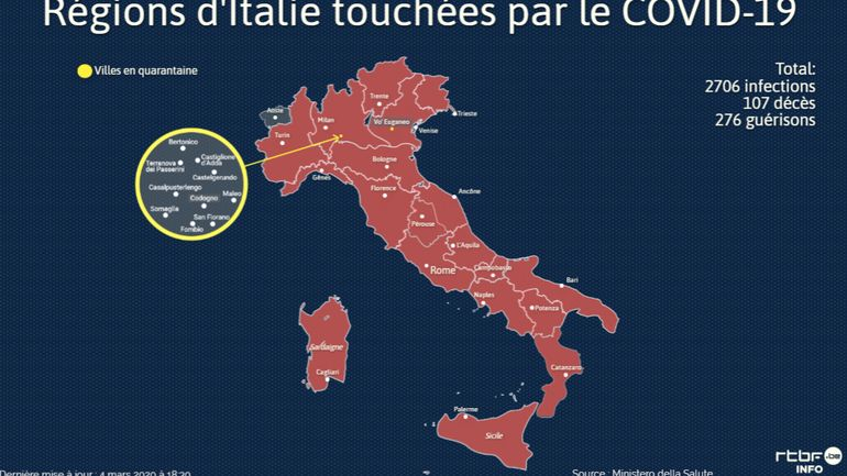 Coronavirus En Italie La Carte Des Regions Touchees