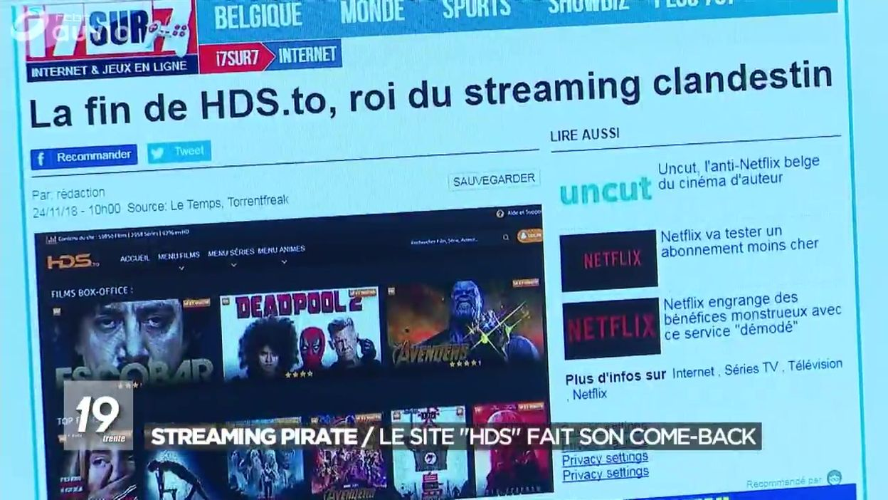 Streaming pirate : le site HDS fait son come-back - JT 8h8 - 8/8/208
