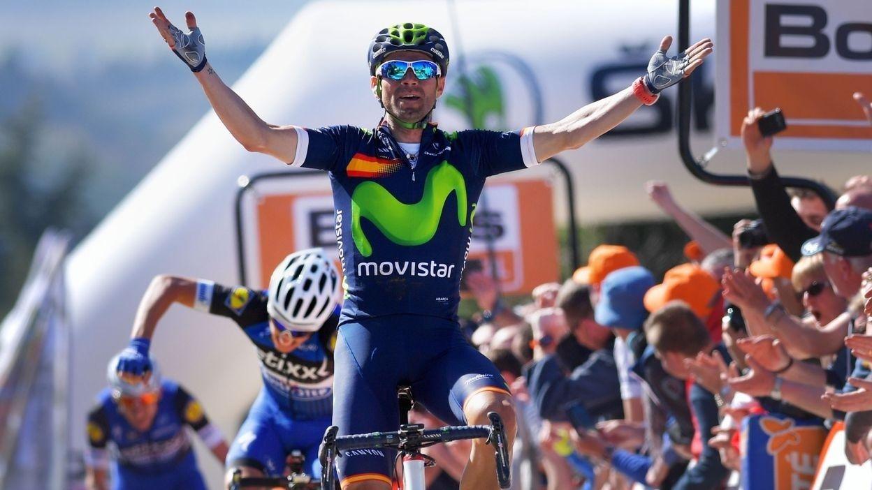 Alejandro Valverde s'impose au sommet du Mur de Huy