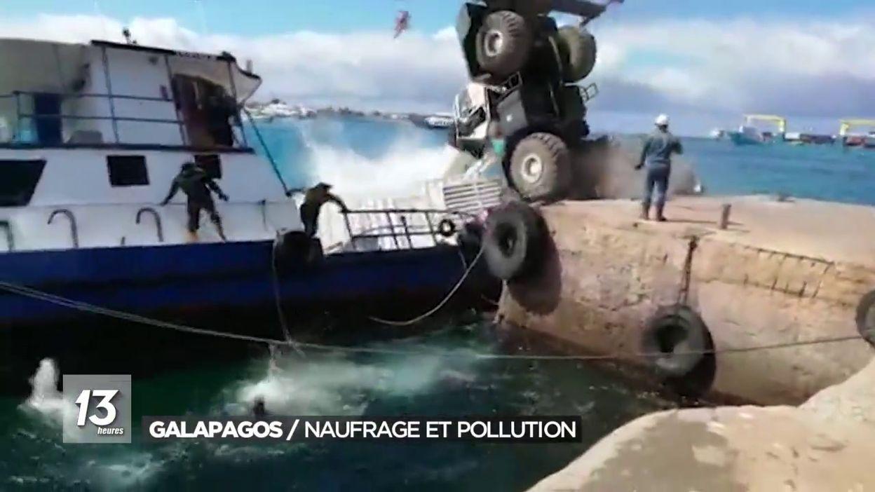 Galapagos : naufrage d une barge