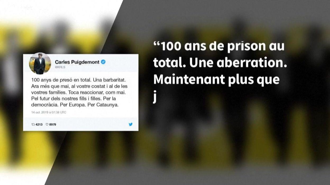 Condamnation des indépendantistes catalans: tweet (animé) de la réaction de Carles Puigdemont