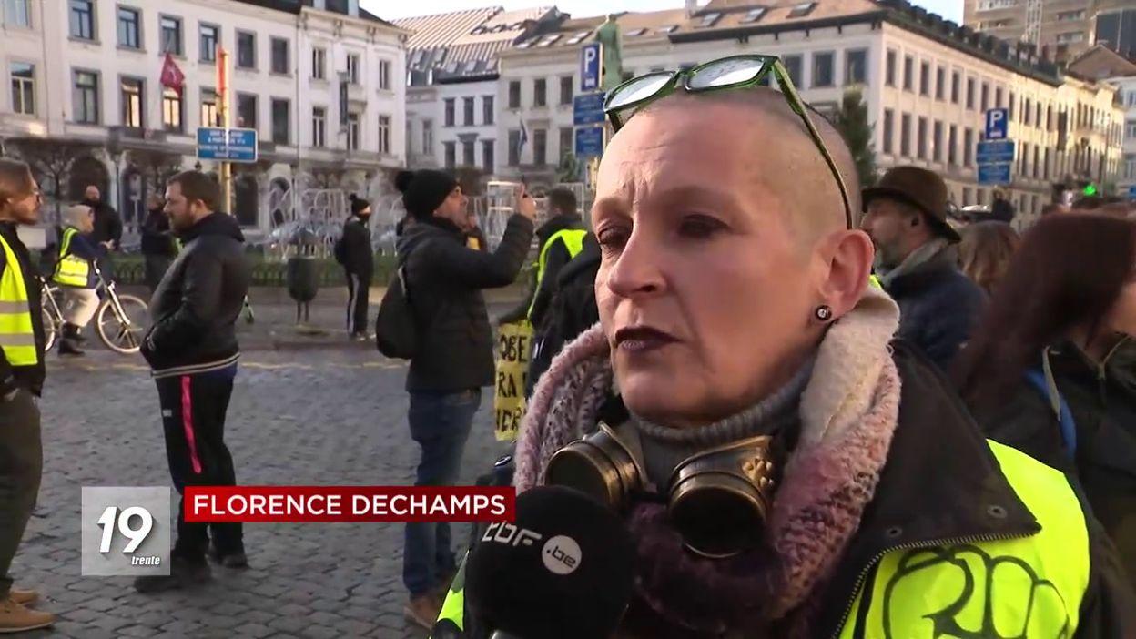 Manifestation des gilets jaunes à Ixelles