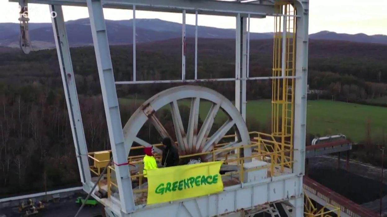 Action de Greenpeace dans une mine de charbon slovaque