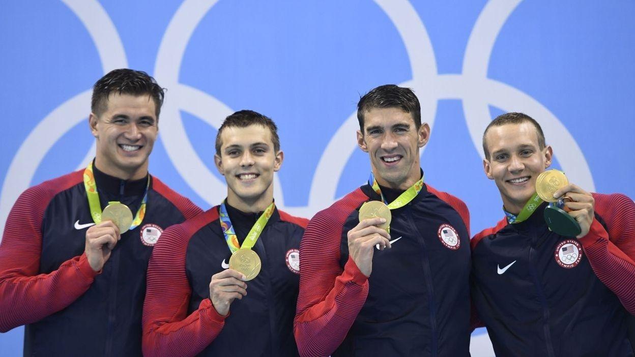 Relais 4x100m nage libre : 19ème médaille d'or pour Phelps (07 août 2016)