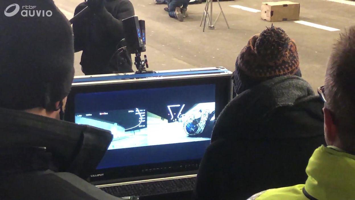 Tournage d'un film interactif de sécurité routière dans le tunnel de Cointe à Liège
