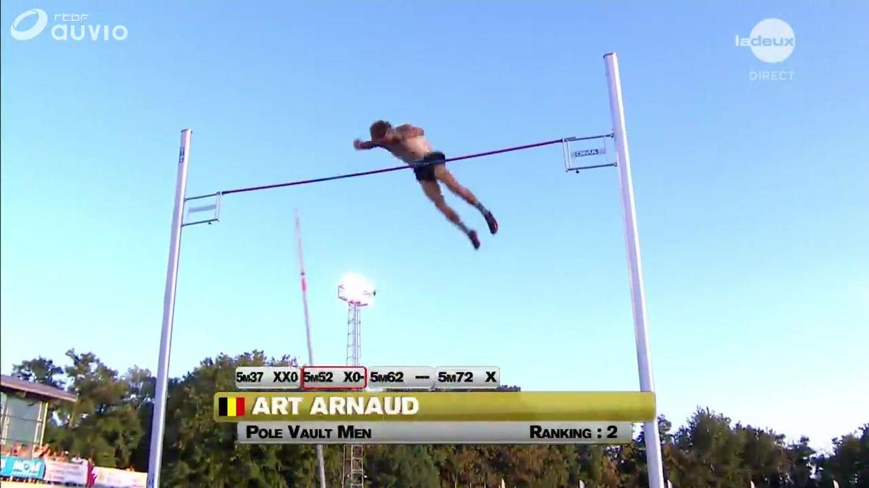 Arnaud Art passe la barre à 5.72m, nouveau record de Belgique à la perche
