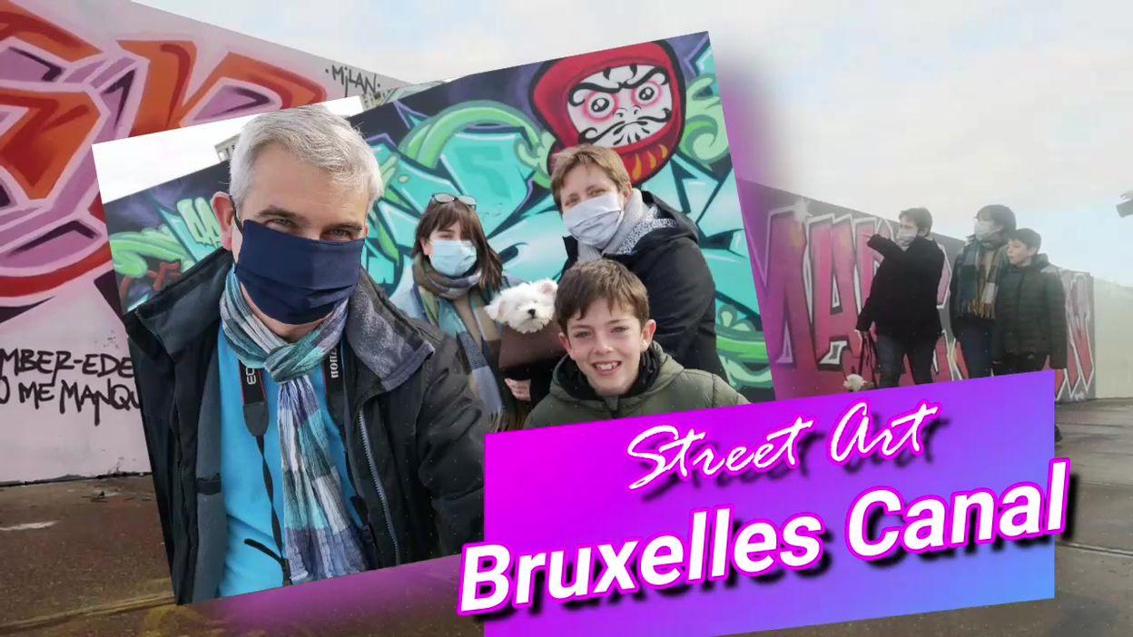 La Famille Bonvoyage en visite le long du canal de Bruxelles