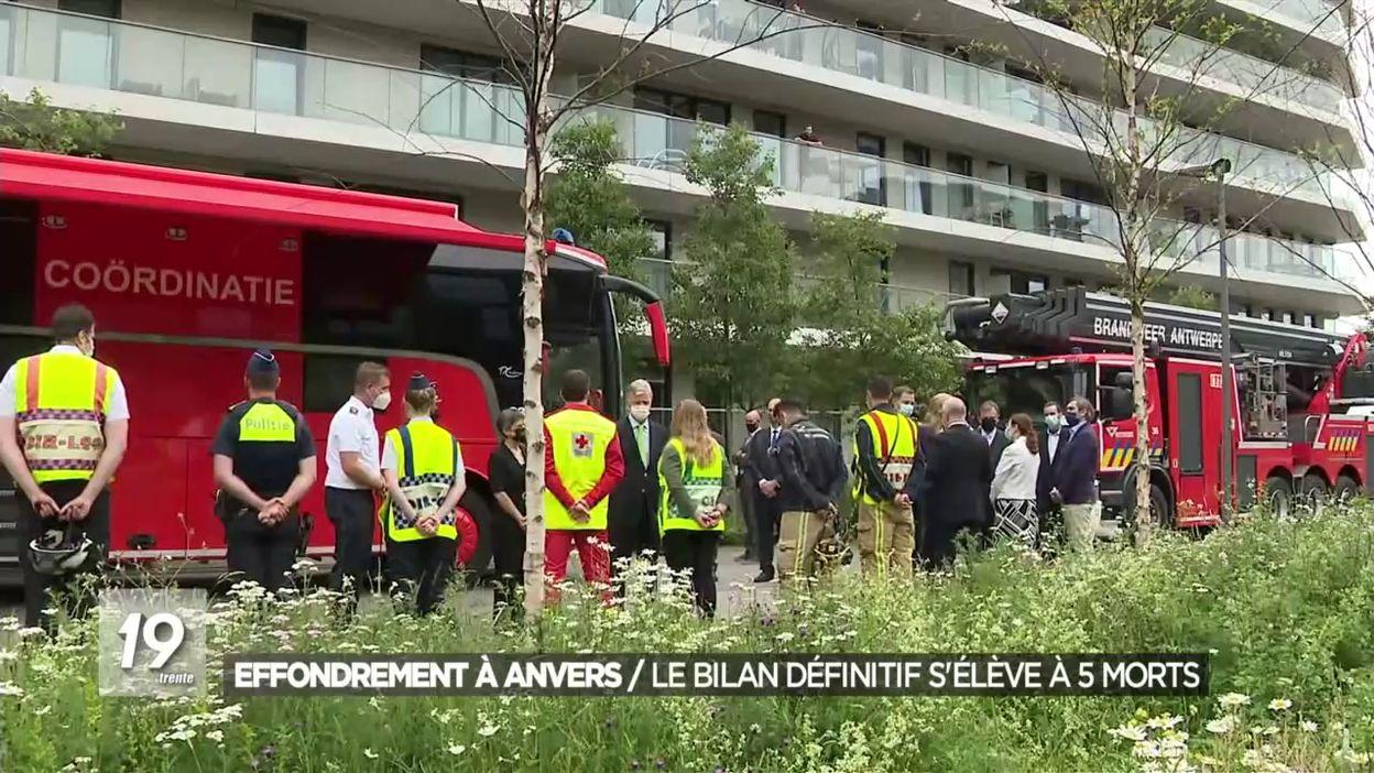Anvers : 5 personnes sont finalement décédées suite à l'effondrement d'un immeuble en chantier
