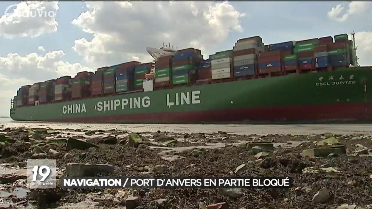 Navigation : port d'Anvers en partie bloqué par un porte-conteneur chinois