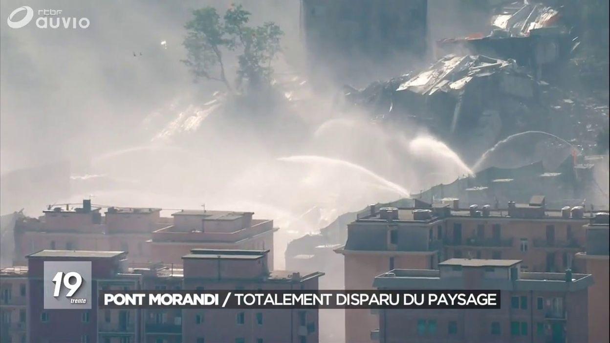 Explosion des restes du pont de Gênes