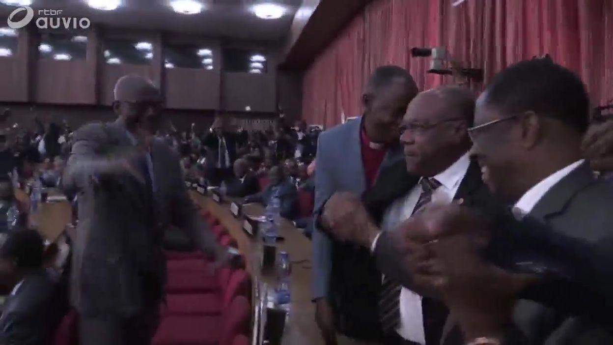 RDC: le nouveau président du Sénat Alexis Thambwe Mwamba acclamé, ce 27 juillet à Kinshasa