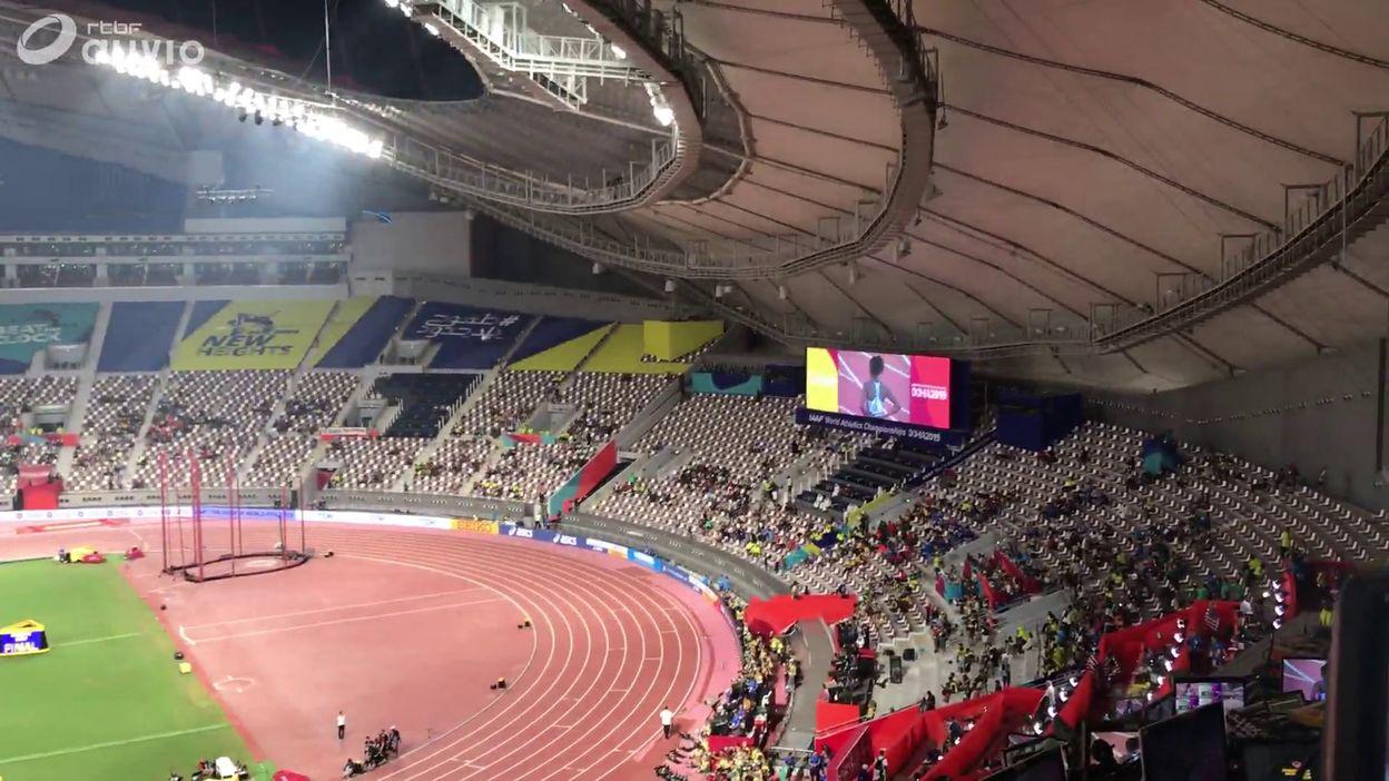 Tribune vide avant la finale du 100m féminin