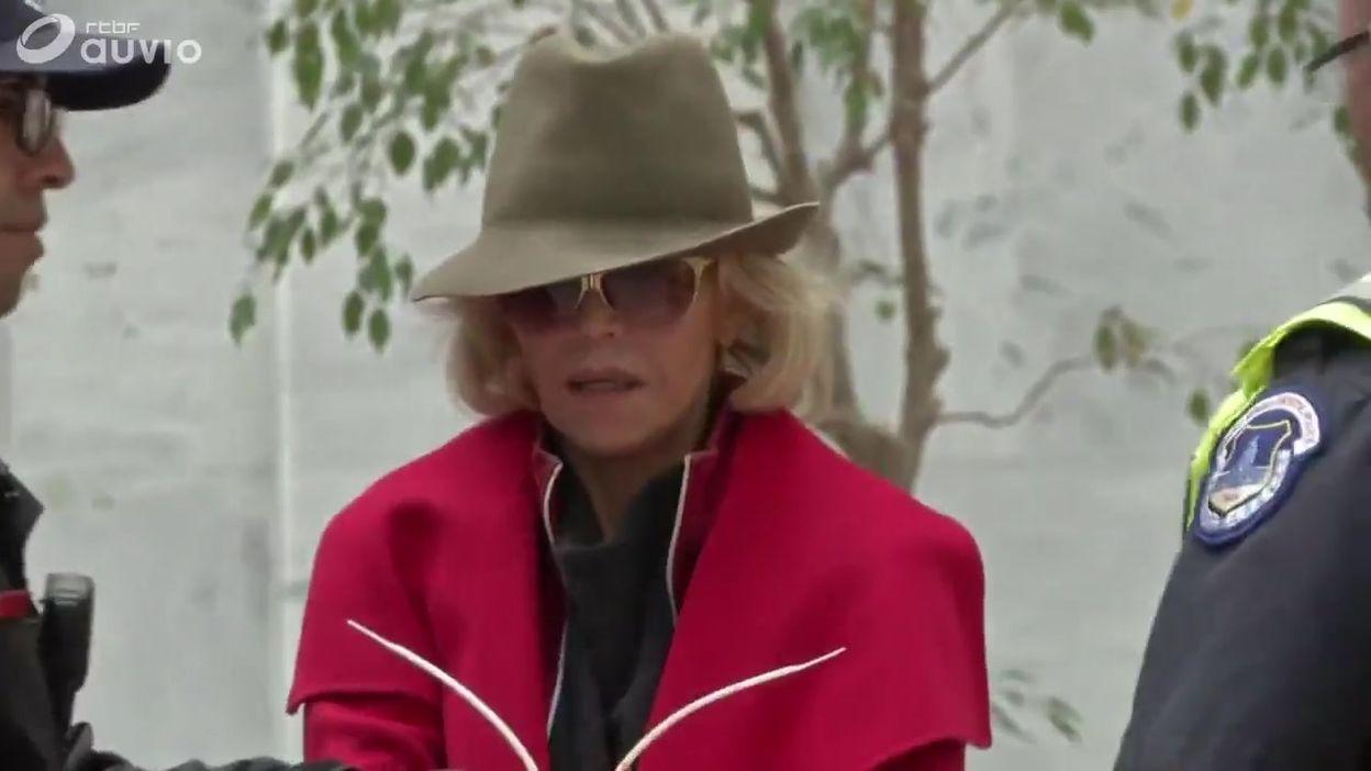 Arrestation de la comédienne et activiste Jane Fonda à Washington, le 01 novembre