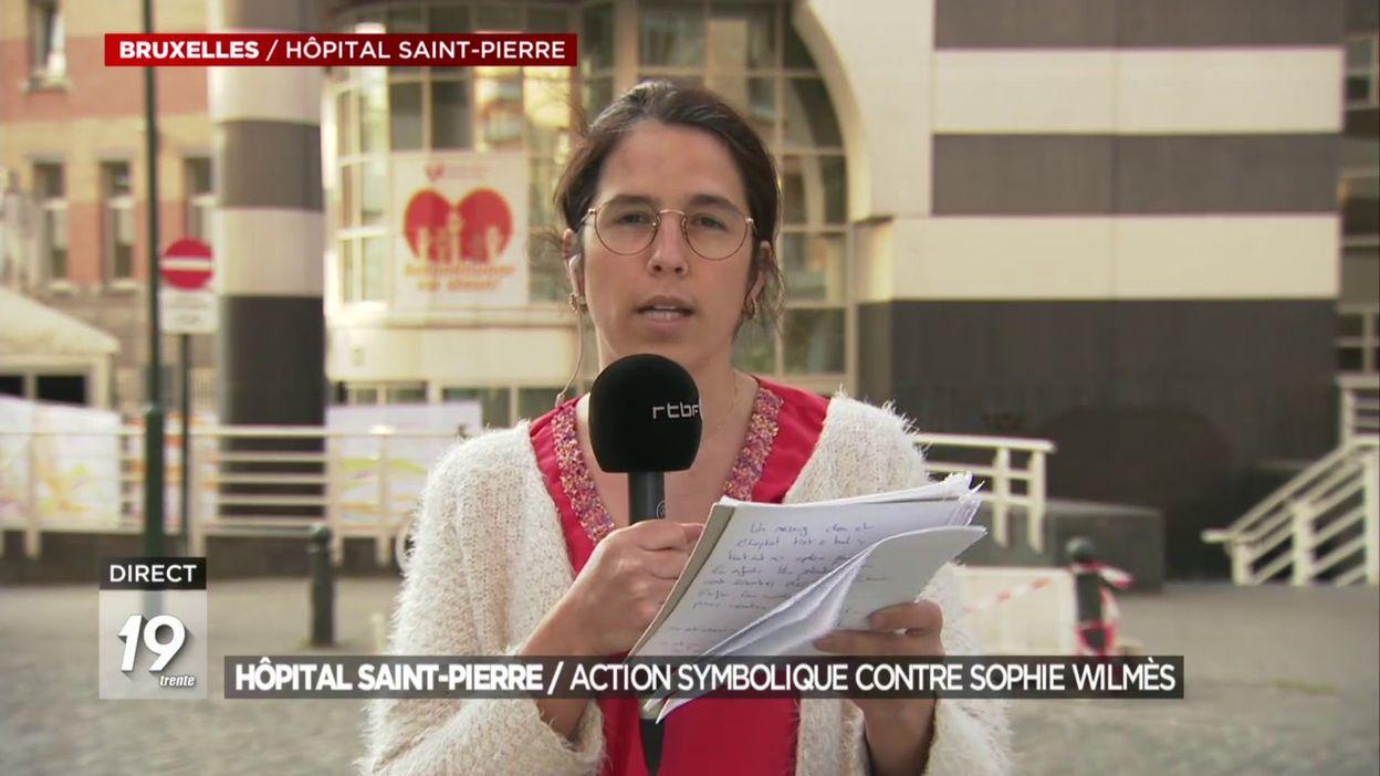 Hôpital Saint-Pierre / Action symbolique contre Sophie Wilmès