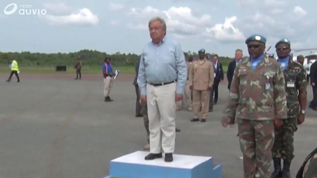 Arrivée d'Antonio Guterres au centre de traitement ebola de Beni (RDC), ce 1er septembre