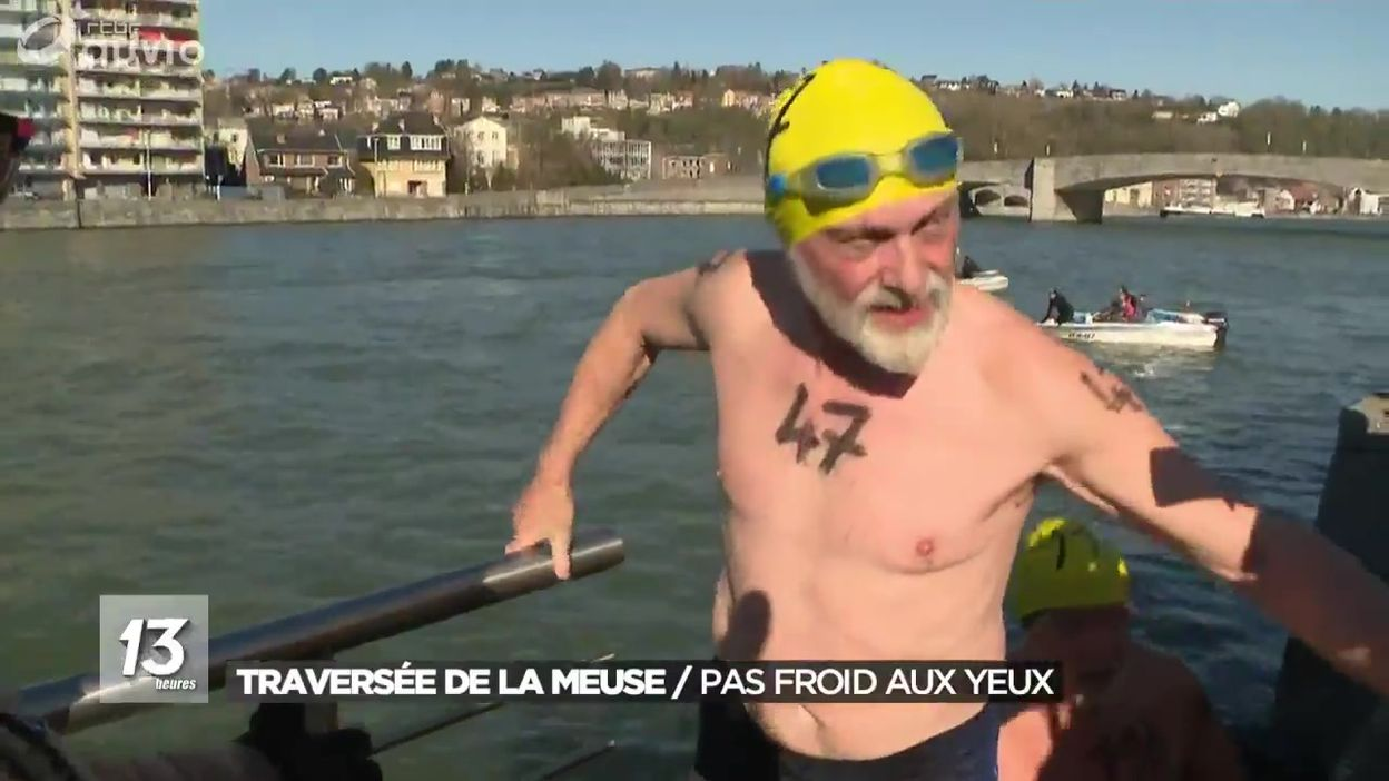 Traversée hivernale et glaciale de la Meuse à Huy
