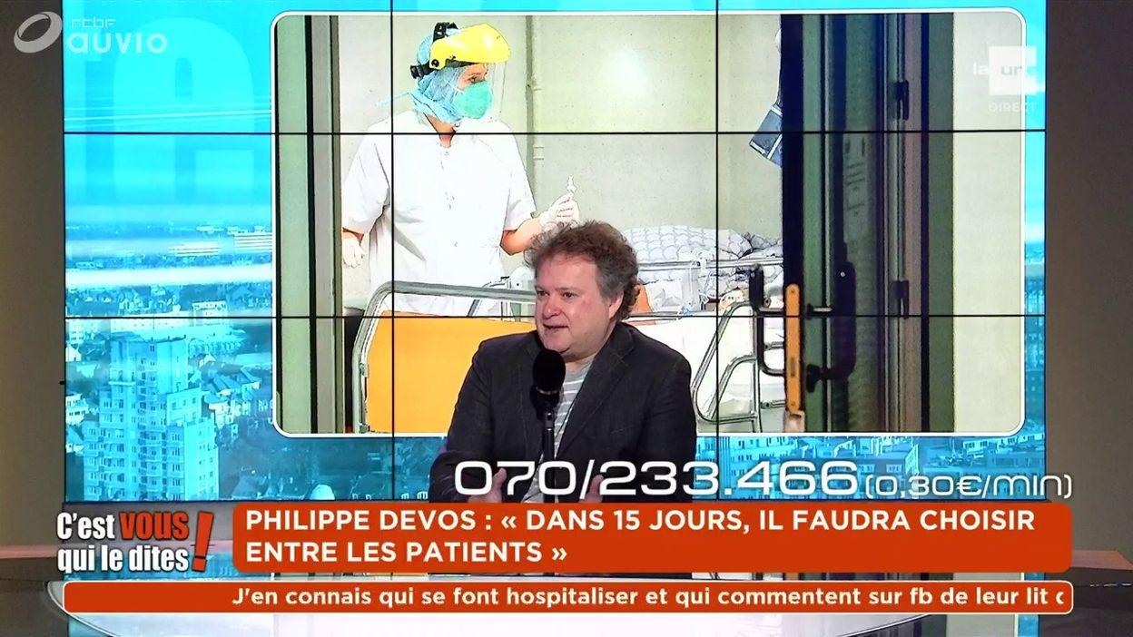 Philippe Devos : « Dans 15 jours, il faudra choisir entre les patients »