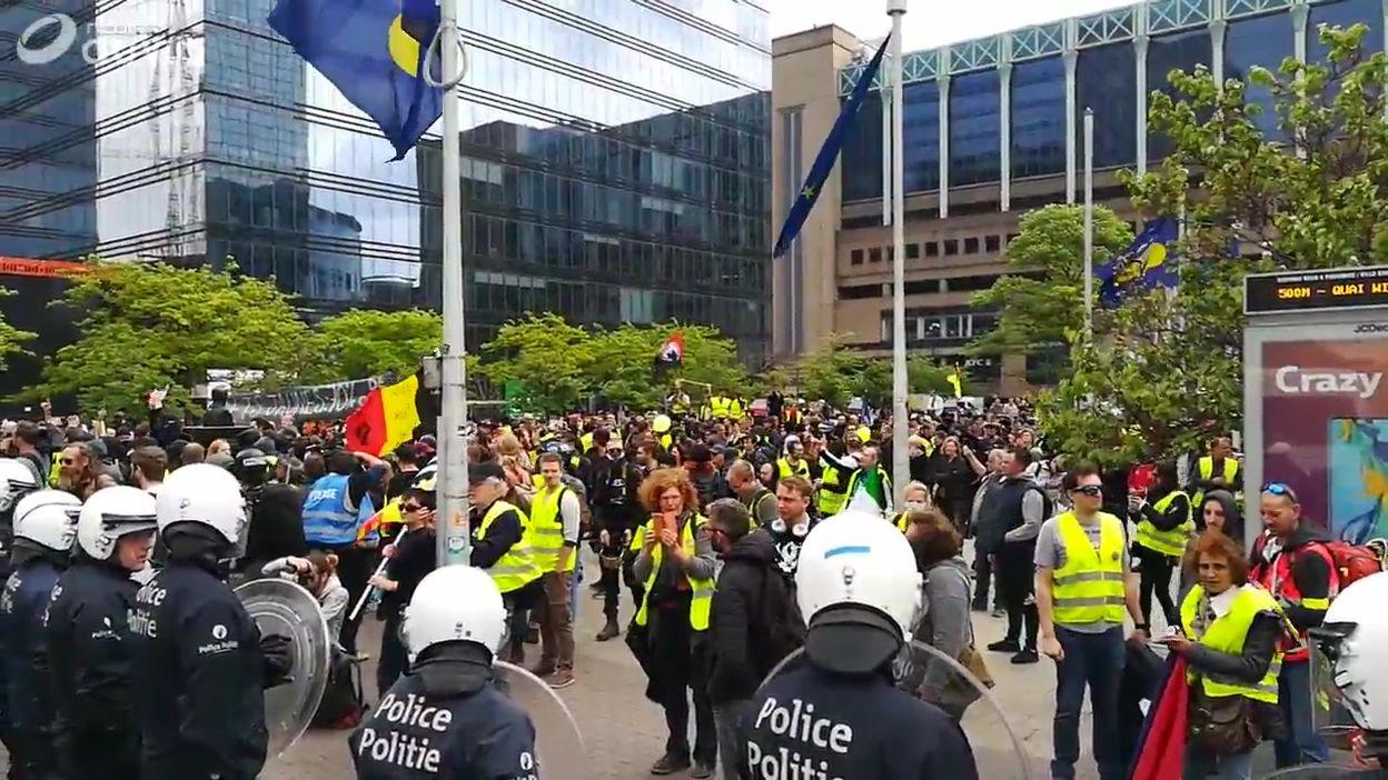 Manifestation de gilets jaunes, gare du Nord à Bruxelles  (Images Belga)