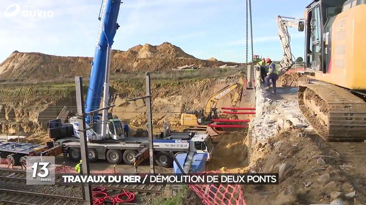Démolition de deux ponts dans le cadre des travaux du RER