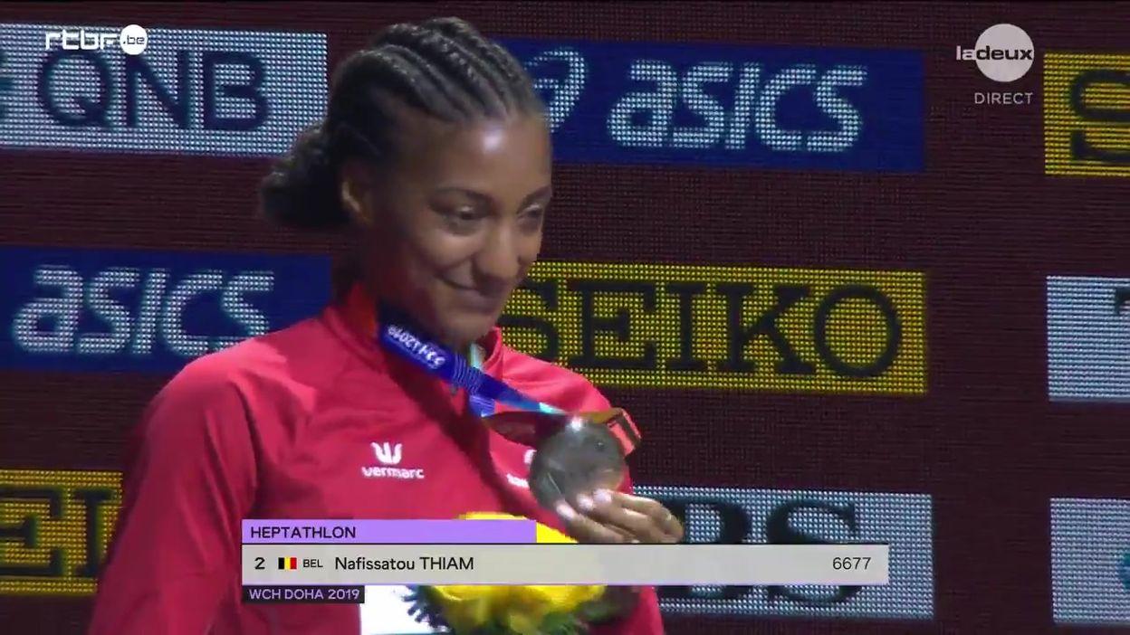 Le podium de l'heptathlon avec Nafissatou Thiam