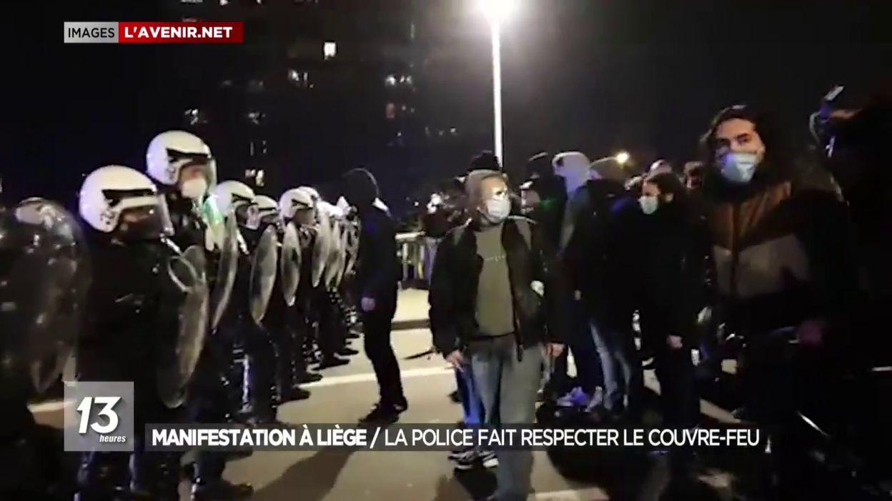 Manifestation à Liège : La police fait respecter le couvre-feu