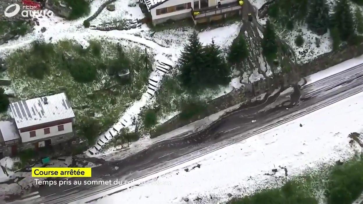 Les images impressionnantes de la route inondée du Tour de France