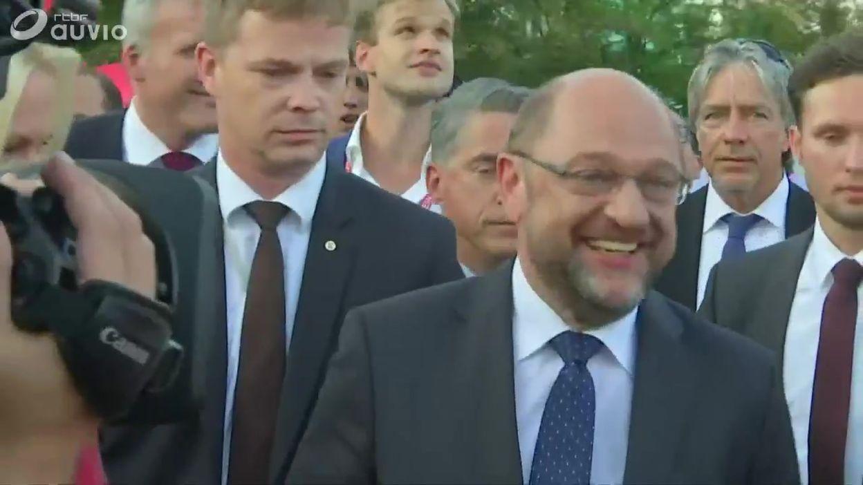 Allemagne: meeting du socialiste Martin Schulz (SPD) à Erfurt (Thuringe), ce 29 août