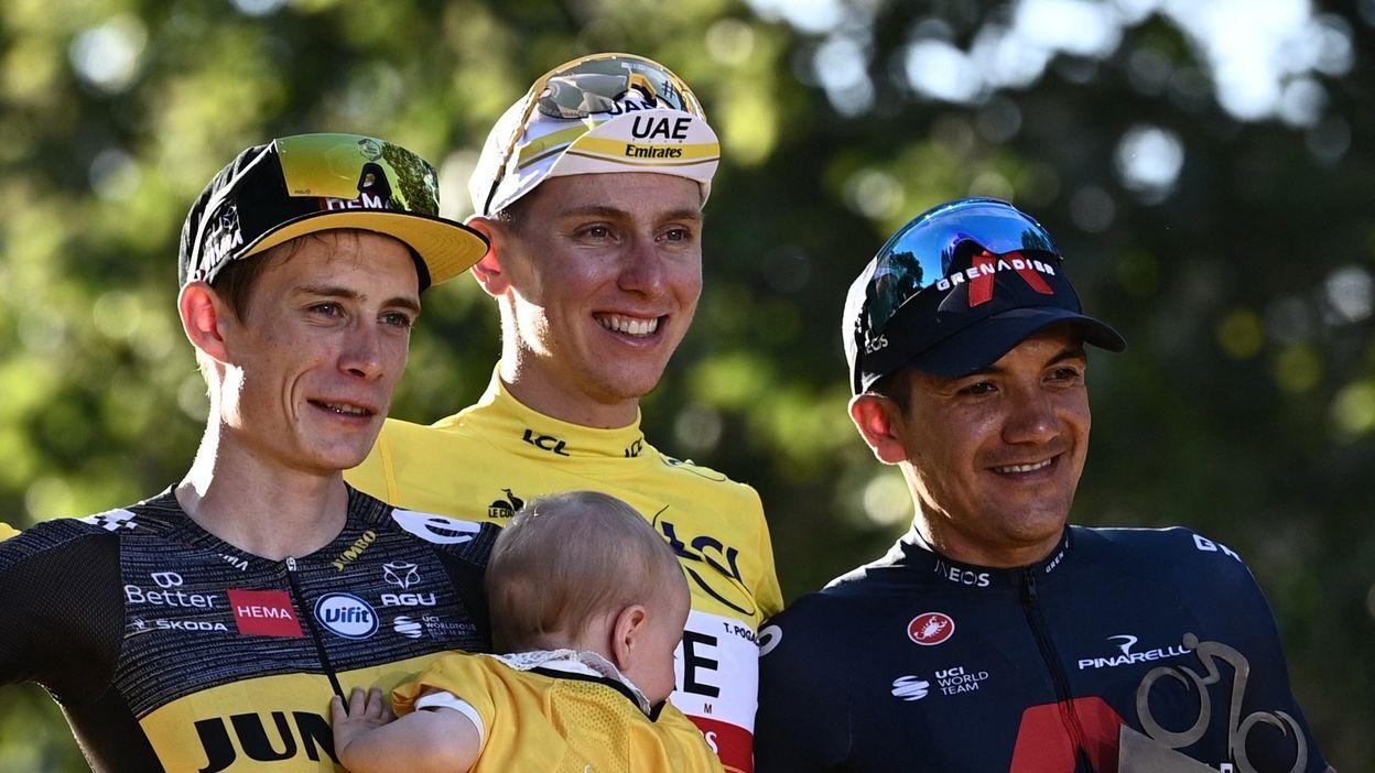 Le podium final du Tour de France avec Pogacar, Vingegaard et Carapaz