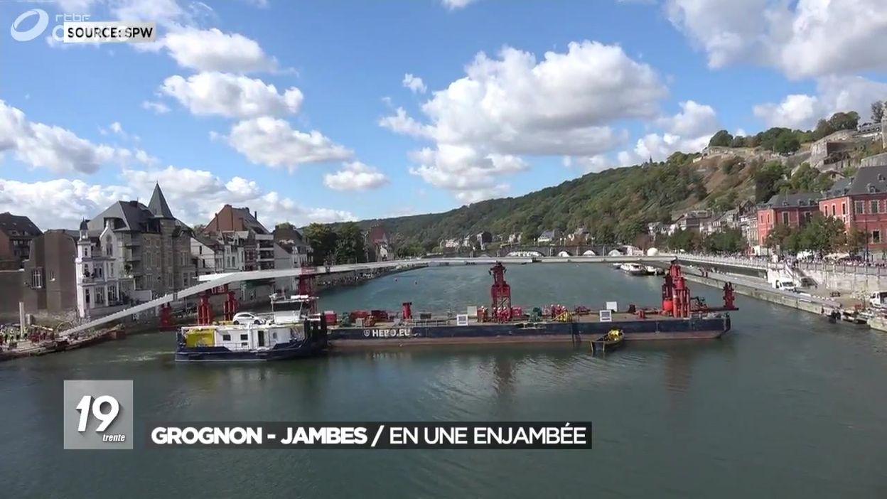 Pose de l'Enjambée à Namur : la passerelle entre Jambes et le Grognon