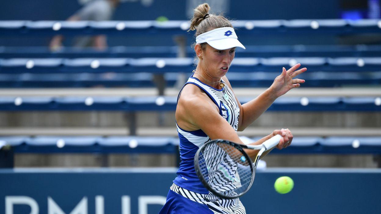 Elise Mertens après sa défaite en quart de finale de l'US Open