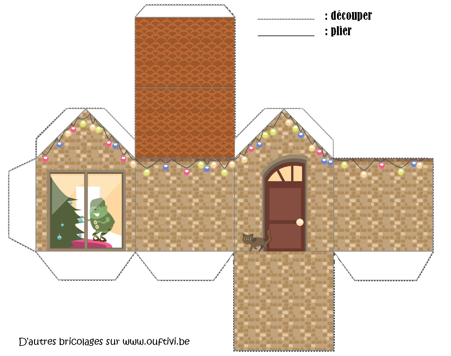 Bricolage maison de no l 3 ouftivi - Patron de maison en papier a imprimer ...
