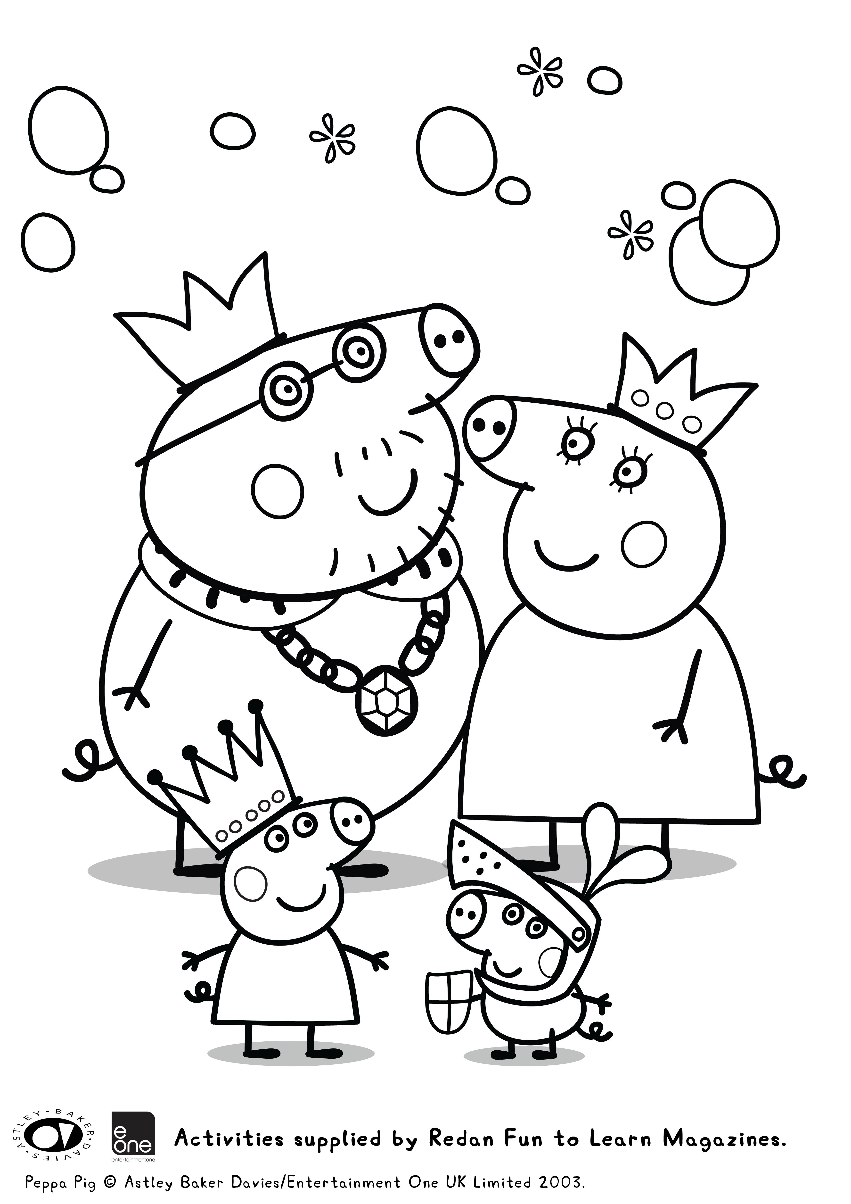 Coloriage - la famille Peppa Pig au temps des chevaliers
