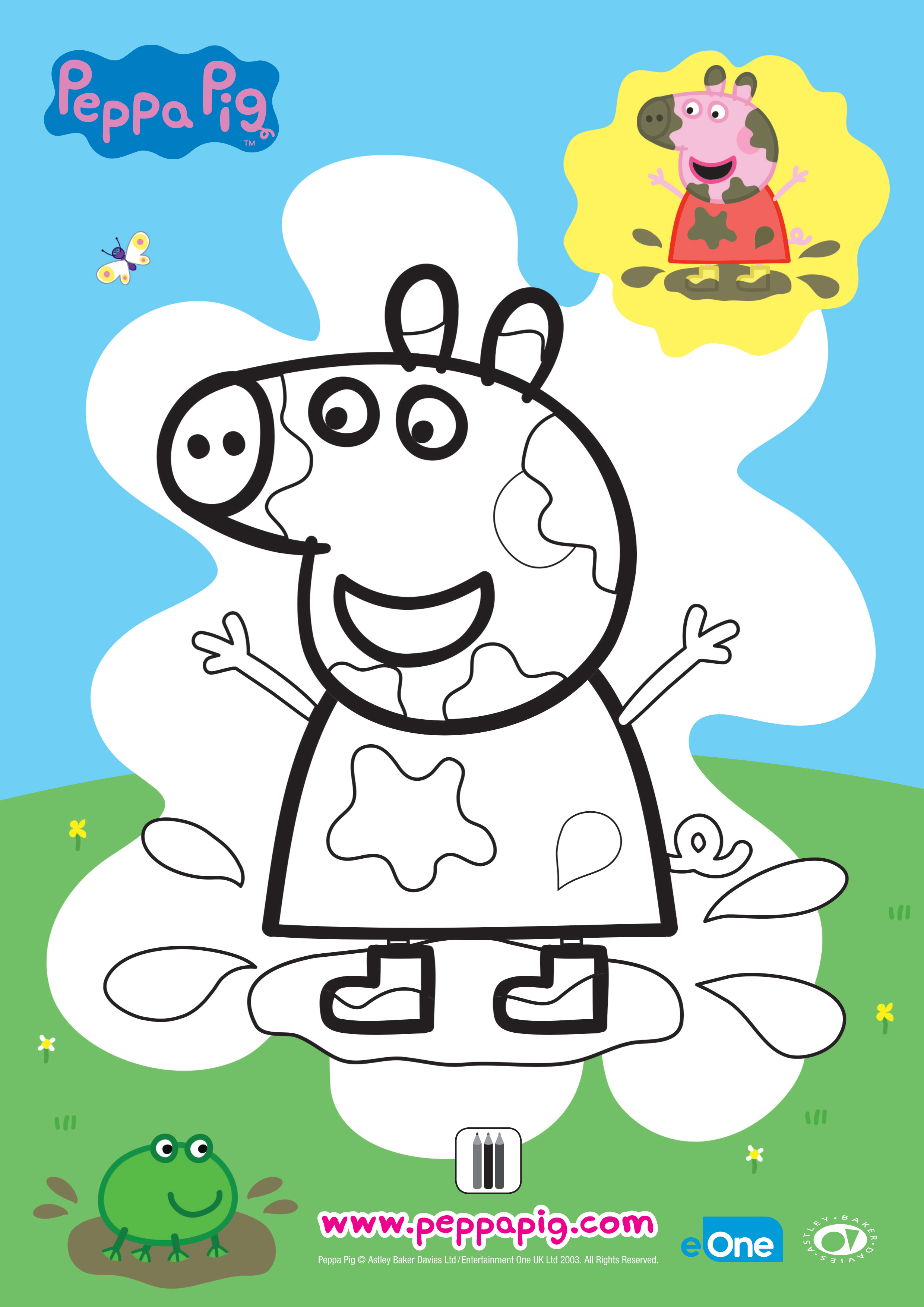 Coloriage - Peppa : les flaques boueuses